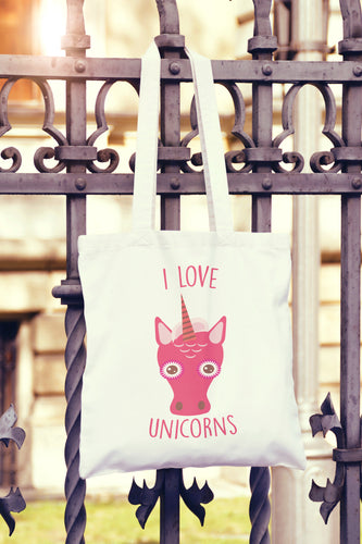 I Love Unicorns Tote Bag - DizzyKitten