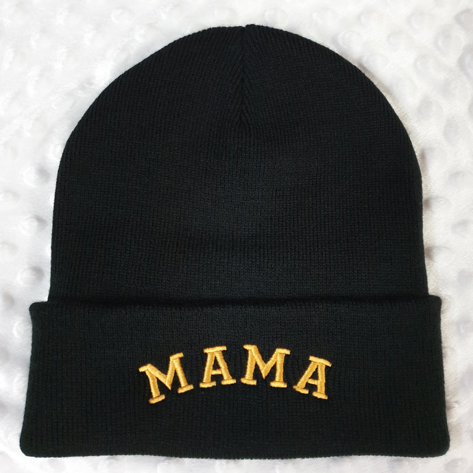Mama Embroidered Beanie Hat