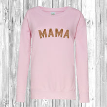 Mama Gold Glitter Scooped Crew Neck Sweatshirt