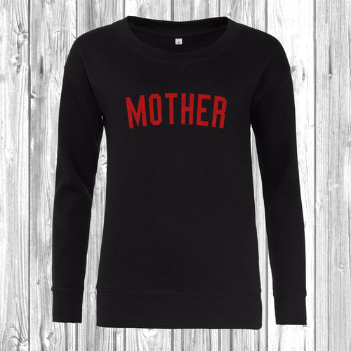 Mother Red Glitter Scooped Crew Neck Sweatshirt