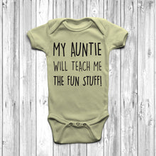 My Auntie Will Teach Me The Fun Stuff Baby Grow Body Suit Cool Auntie Pastel Lemon