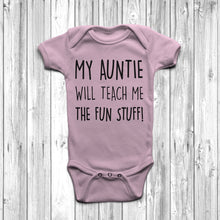My Auntie Will Teach Me The Fun Stuff Baby Grow Body Suit Cool Auntie Pastel Pink
