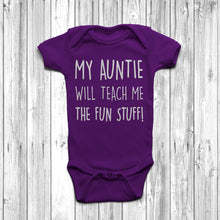 My Auntie Will Teach Me The Fun Stuff Baby Grow Body Suit Cool Auntie Purple
