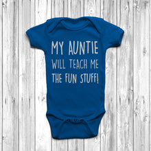 My Auntie Will Teach Me The Fun Stuff Baby Grow Body Suit Cool Auntie Royal Blue