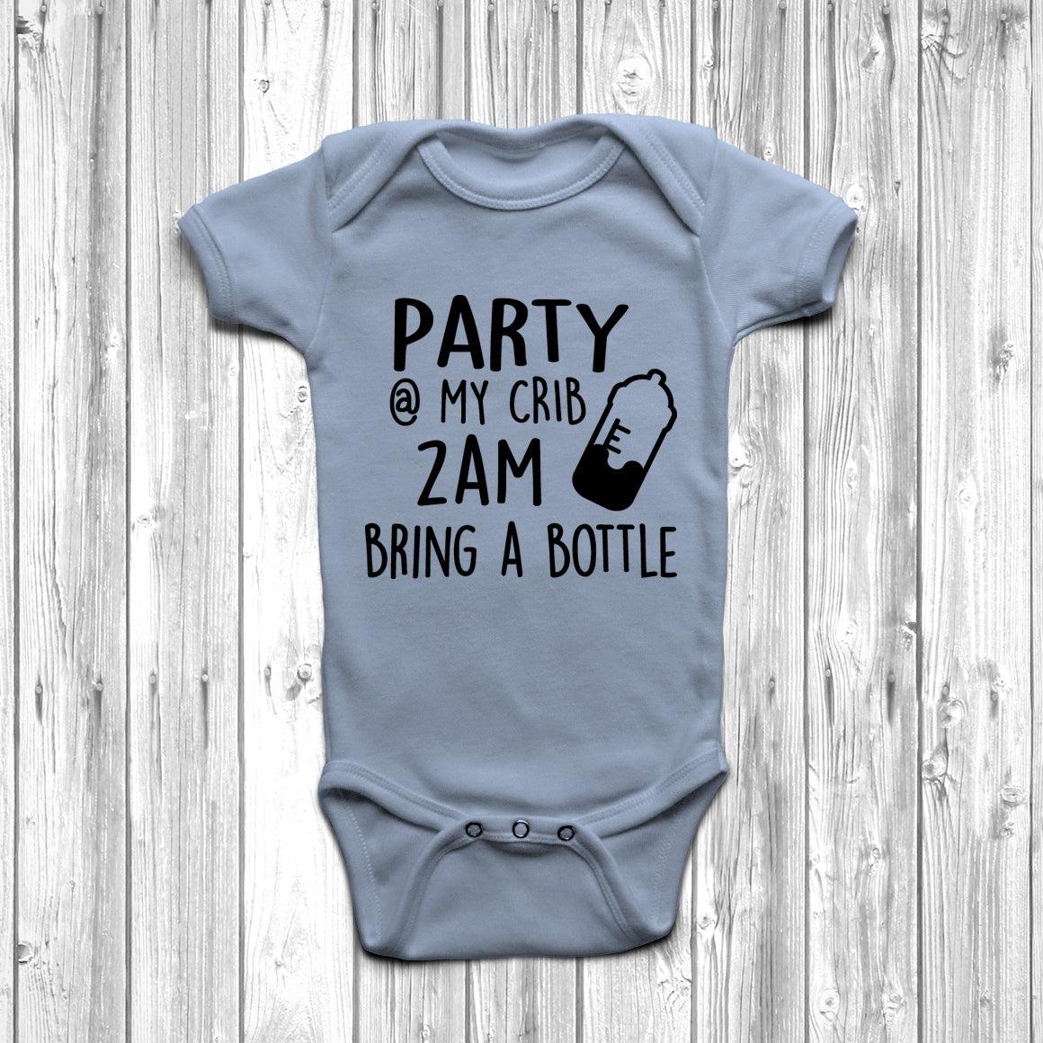 Party 3am My Crib Bring A Bottle Funny Baby Vest Grow Bodysuit Romper Suit