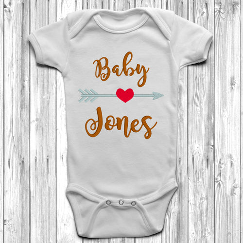 Personalised Surname Arrow Embroidered Baby Grow
