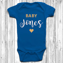Personalised Surname Embroidered Baby Grow