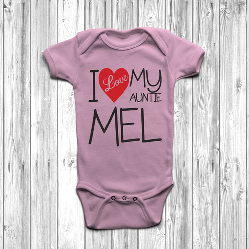 Personalised I Love My Auntie Baby Grow - DizzyKitten