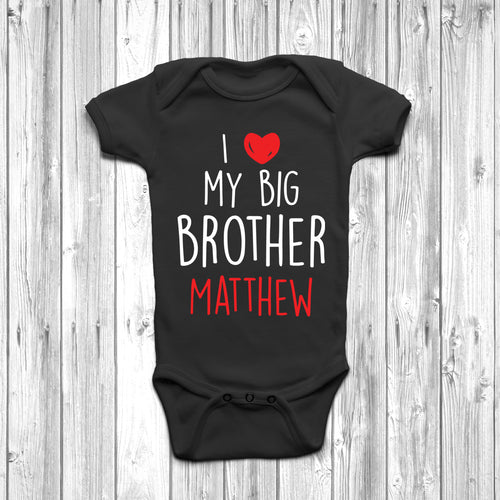 Personalised I Love My Big Brother Baby Grow - DizzyKitten