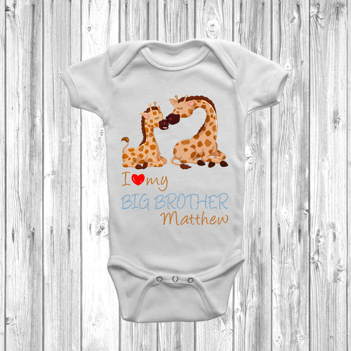 I Love My Big Brother Giraffe Baby Grow - DizzyKitten