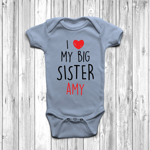 Personalised I Love My Big Sister Baby Grow - DizzyKitten