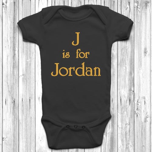 Personalised Is For Embroidered Baby Grow