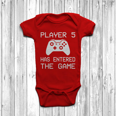 Player 5 Has Entered The Game Baby Grow Red Body Suit Newborn