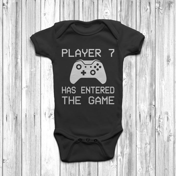 Player 7 Has Entered The Game Baby Grow Black Body Suit Newborn