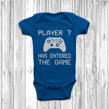 Player 7 Has Entered The Game Baby Grow Royal Blue Body Suit Newborn