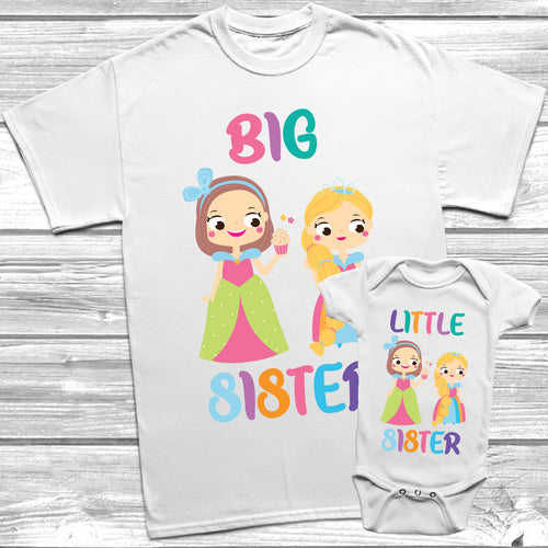 Princess Big Sister Little Sister T-Shirt Baby Grow Set