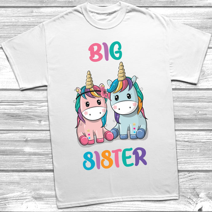 Unicorn Big Sister Little Sister T-Shirt Baby Grow Set