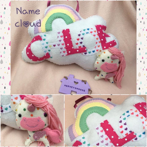 Name Cloud Cushion With One HH Character - Harveyshouse handmade craft