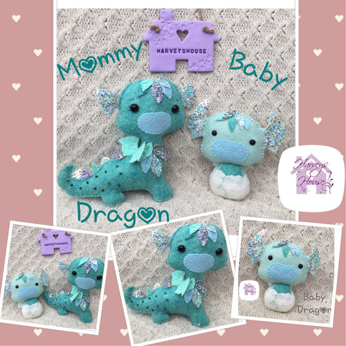 Mommy and Baby Dragon Collectable Set - Harveyshouse handmade crafts
