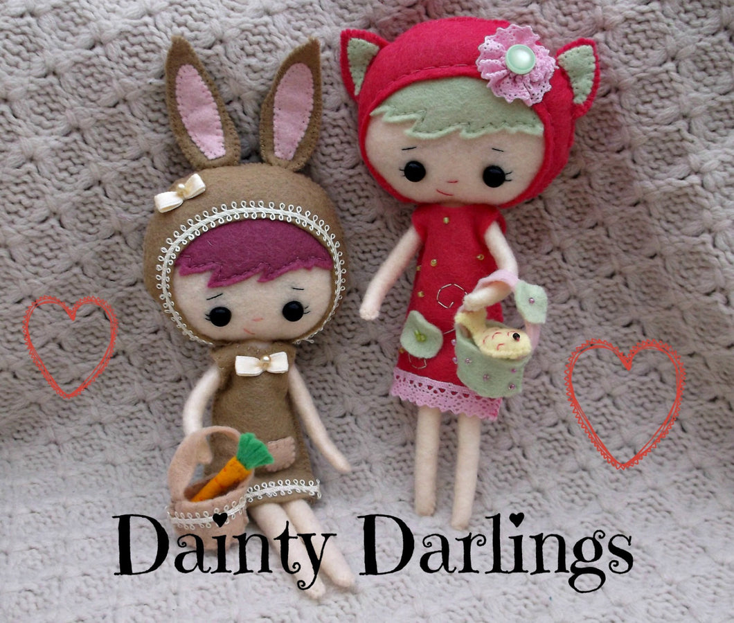 Dainty Darling Doll -Kitten or Bunny - Harveyshouse handmade craft