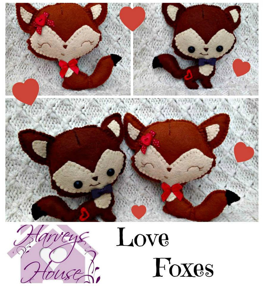 Handmade Love Foxes Set of Two - Harveyshouse handmade crafts
