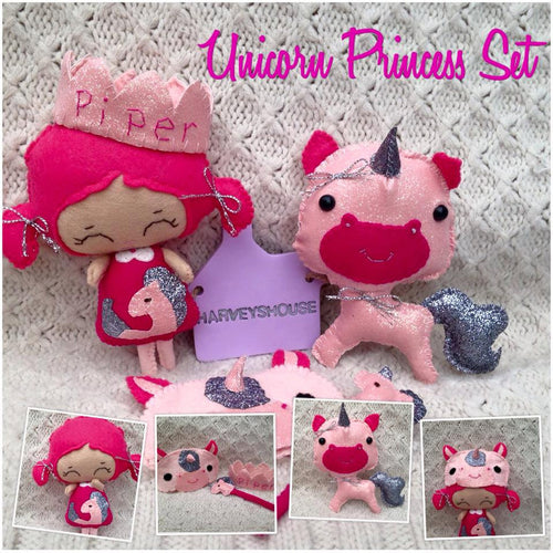 Unicorn Princess & Unicorn Collectable Doll Set - Harveyshouse