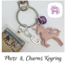 Photo keyring with unicorn charms - Harveyshouse handmade crafts