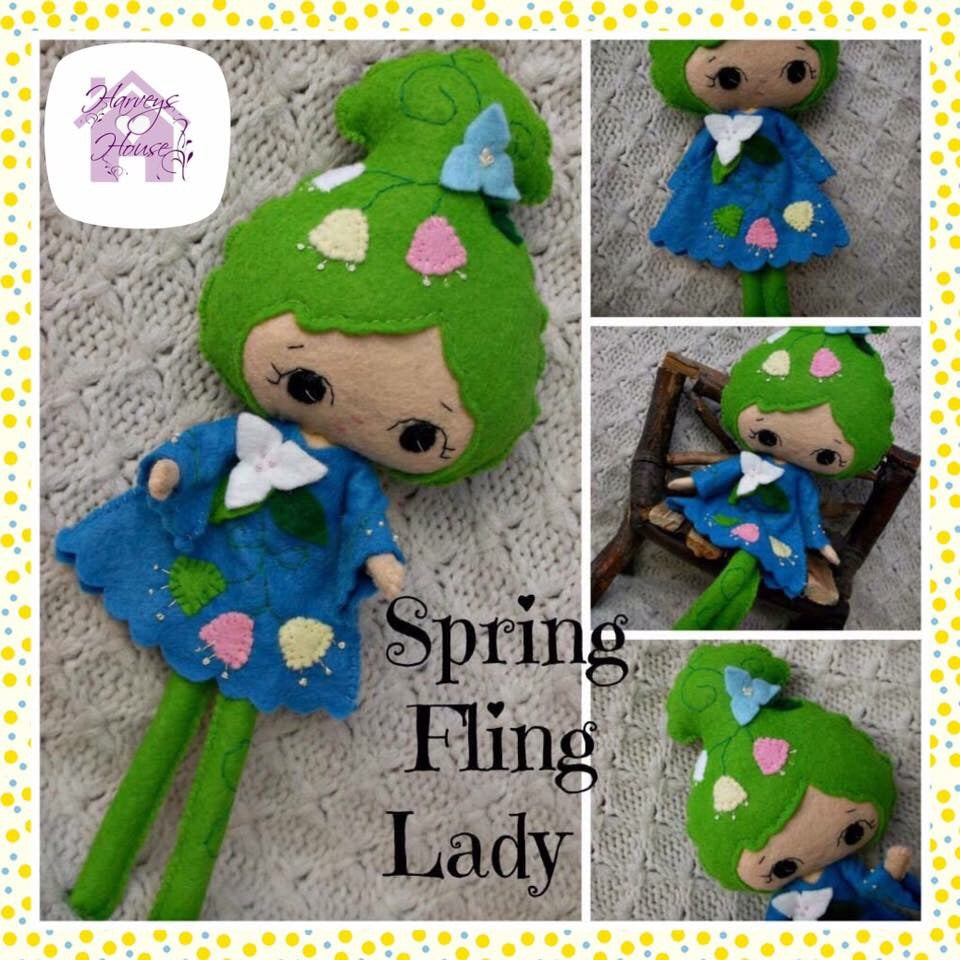 Spring themed Collectable Doll -Harveyshouse handmade craftsc