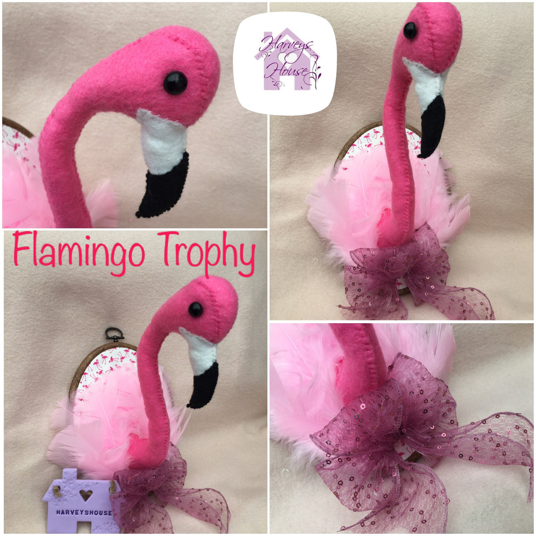 Flamingo Faux Taxidermy Trophy Head - Harveyshouse handmade craft
