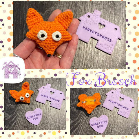 Crochet Fox Brooch