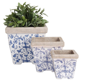 AGED CERAMIC SQUARE FLOWER POT