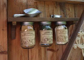 Garden Shelf with Storage Jars