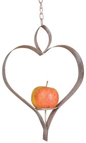 Aged Metal Heart Shaped Bird Feeder or Candle Holder