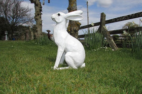 Hare Alert Garden Ornament - White