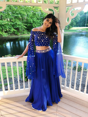Off Shoulder Blue Lengha