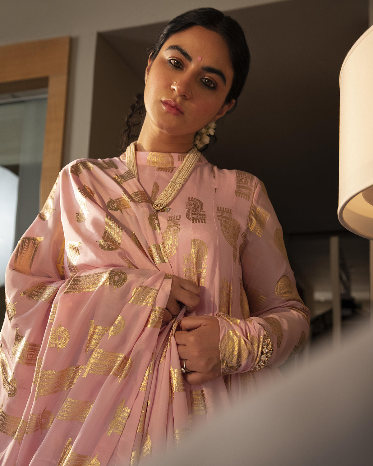 Light Pink Comb Anarkali Set