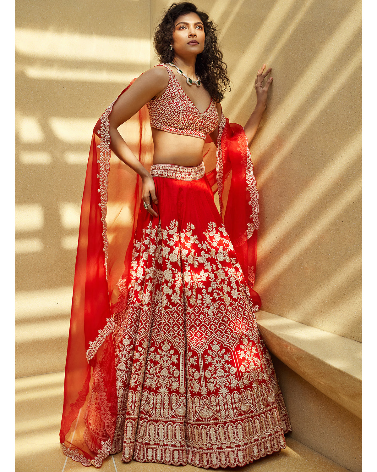 Ruby Red Raw Silk Lehenga Set