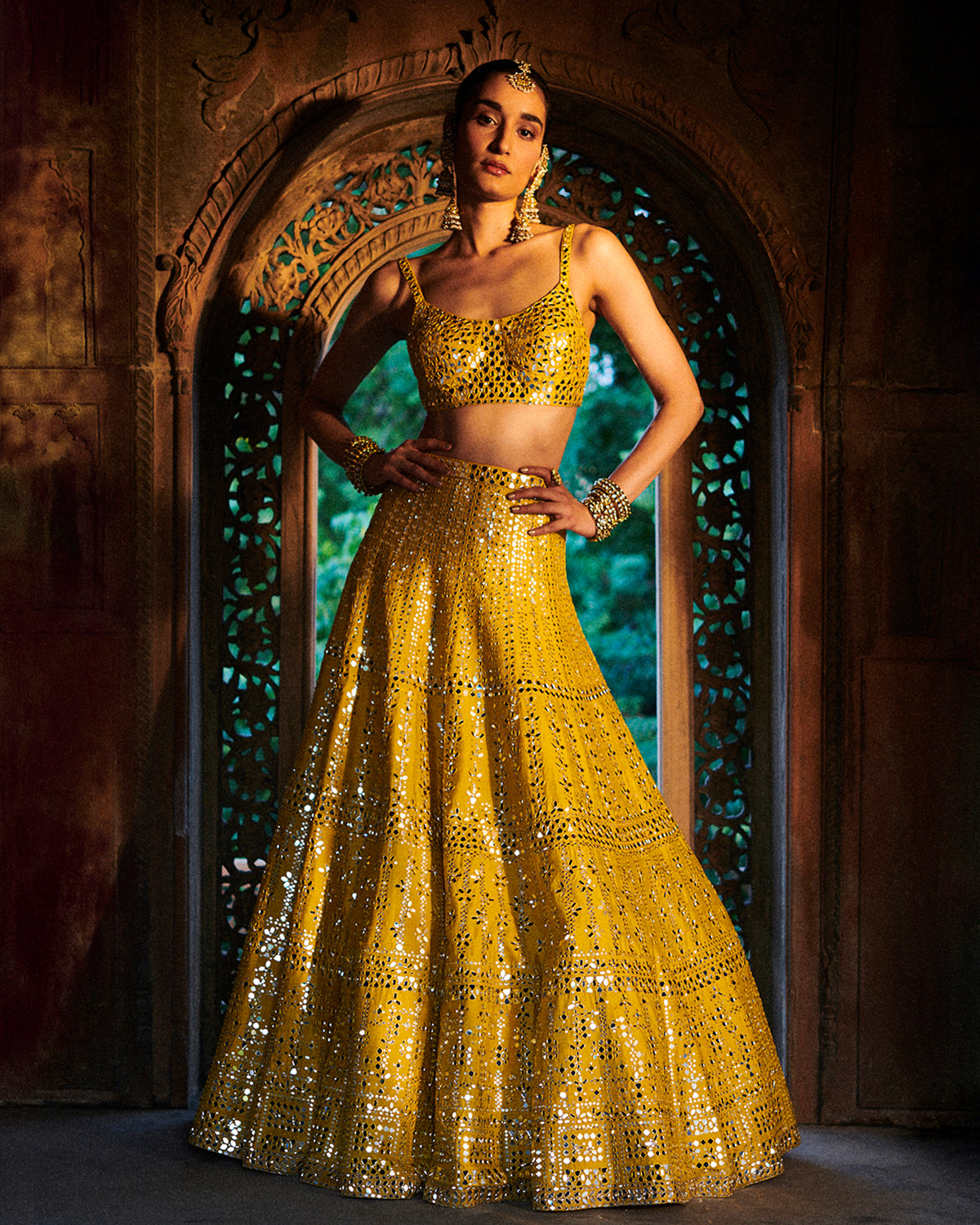 Yellow Mirror Lehenga