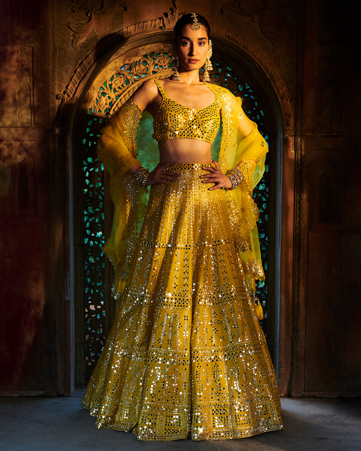 Seema Gujral Yellow Mirror Lehenga