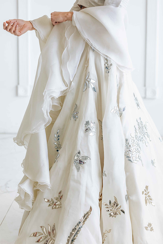 Flowy White Floral Applique Lehenga