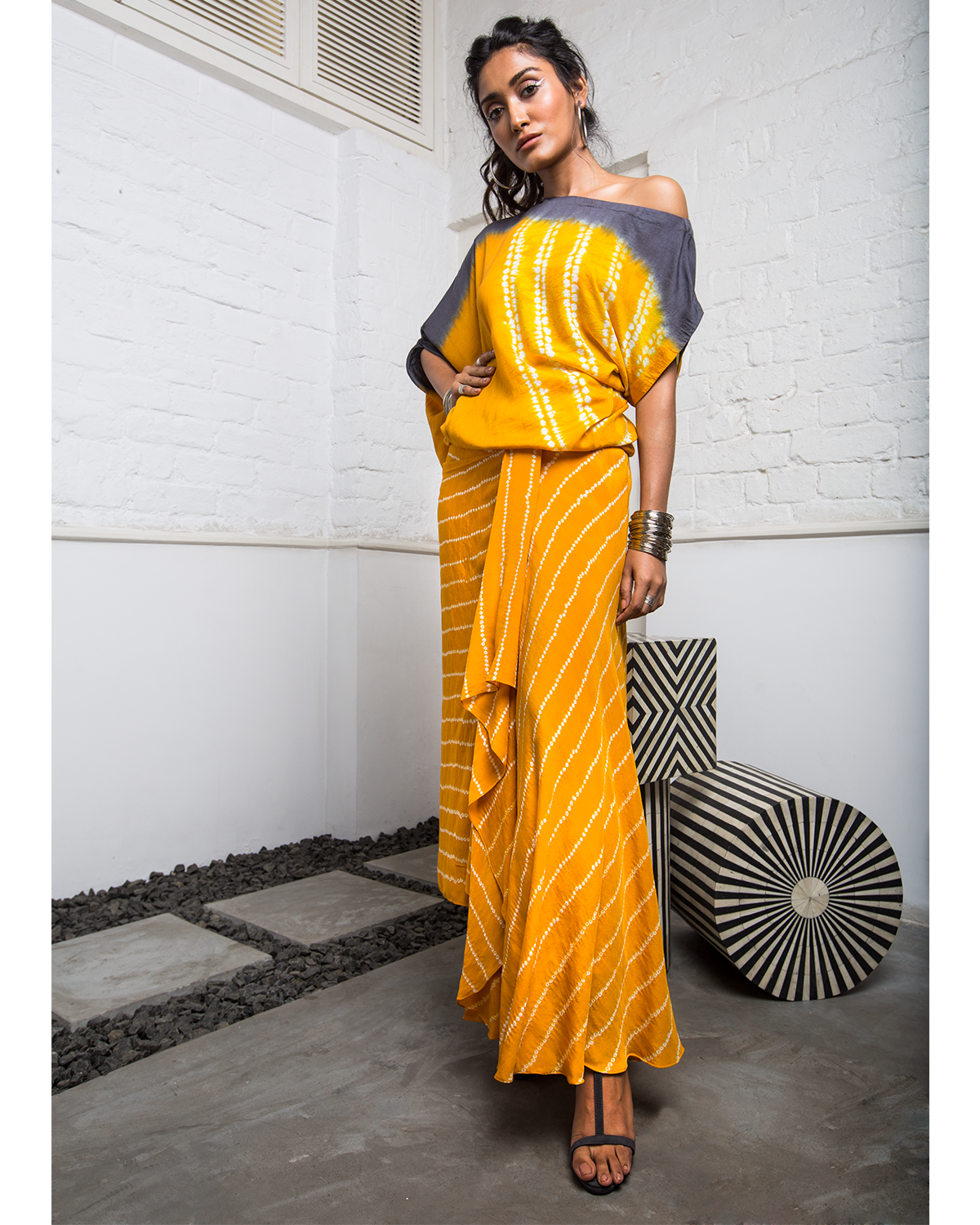 yellow bandhini skirt with off the shoulder top
