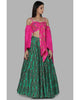 Pink and Green Embroidered Flower Lehenga