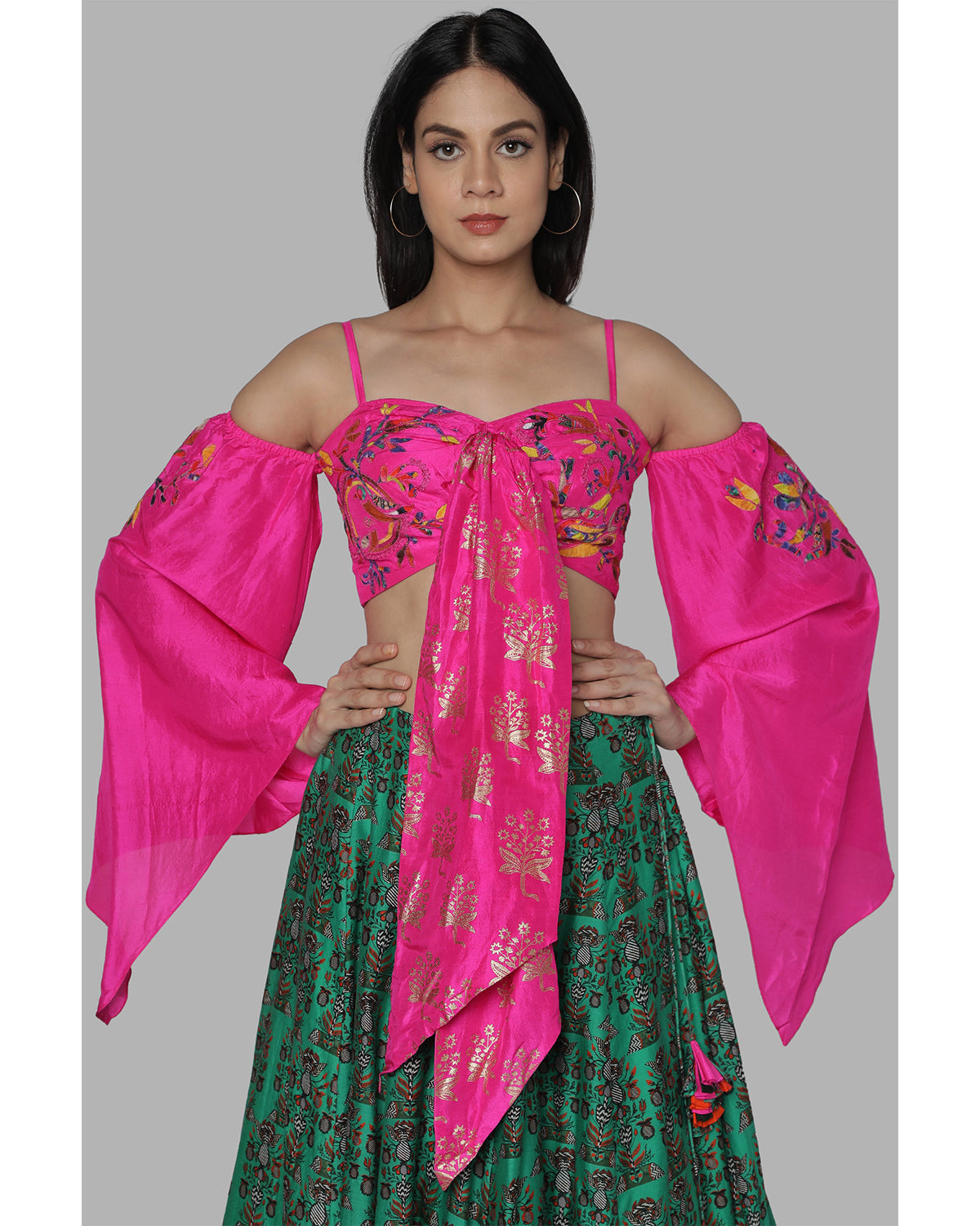 Pink Off Shoulder and Green Printed Lehenga | House of Masaba