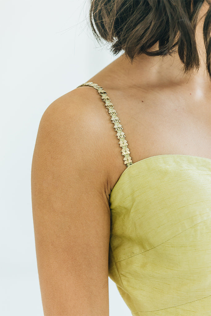 Lime and Gold Bustier Lehenga