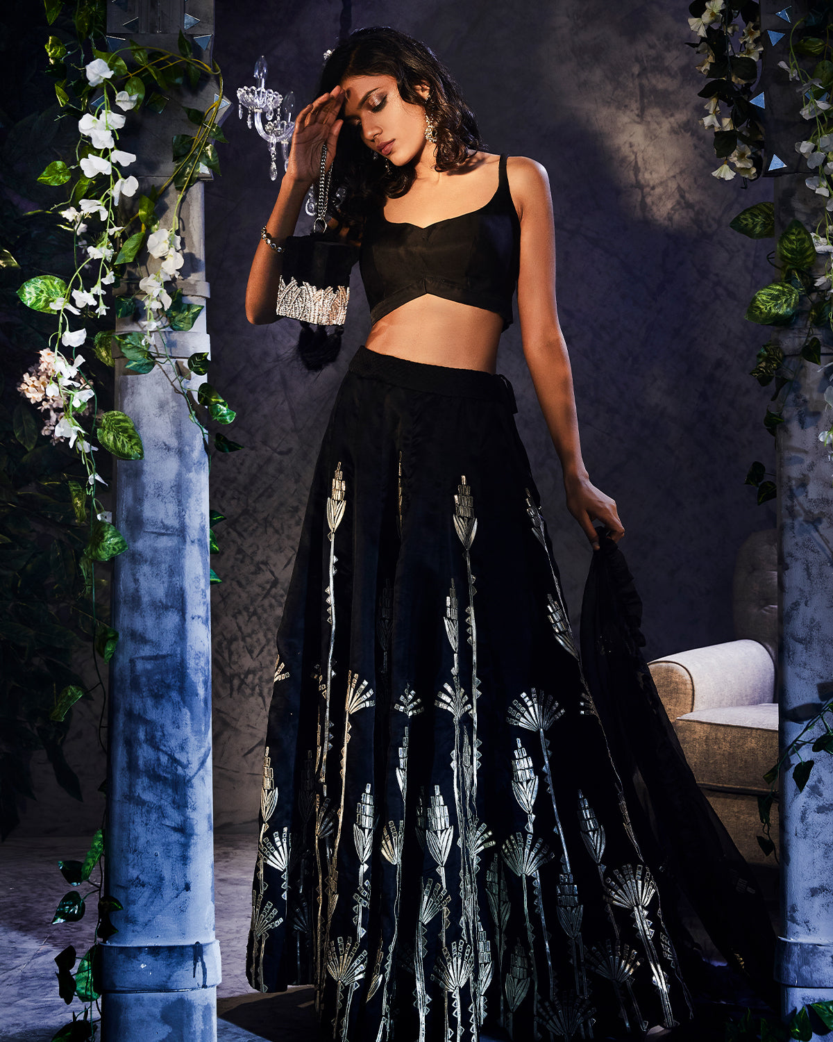 Black Organza Lehenga with Gold Applique