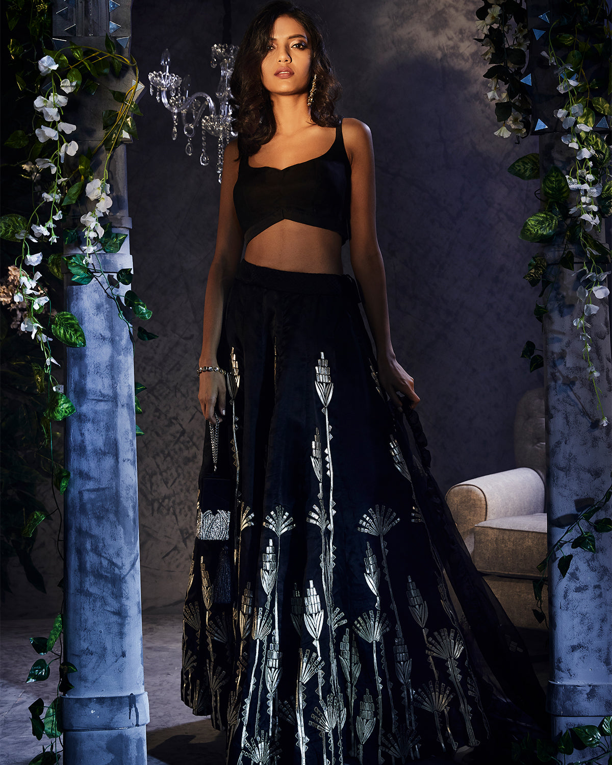 Black Lehenga with Gold Applique