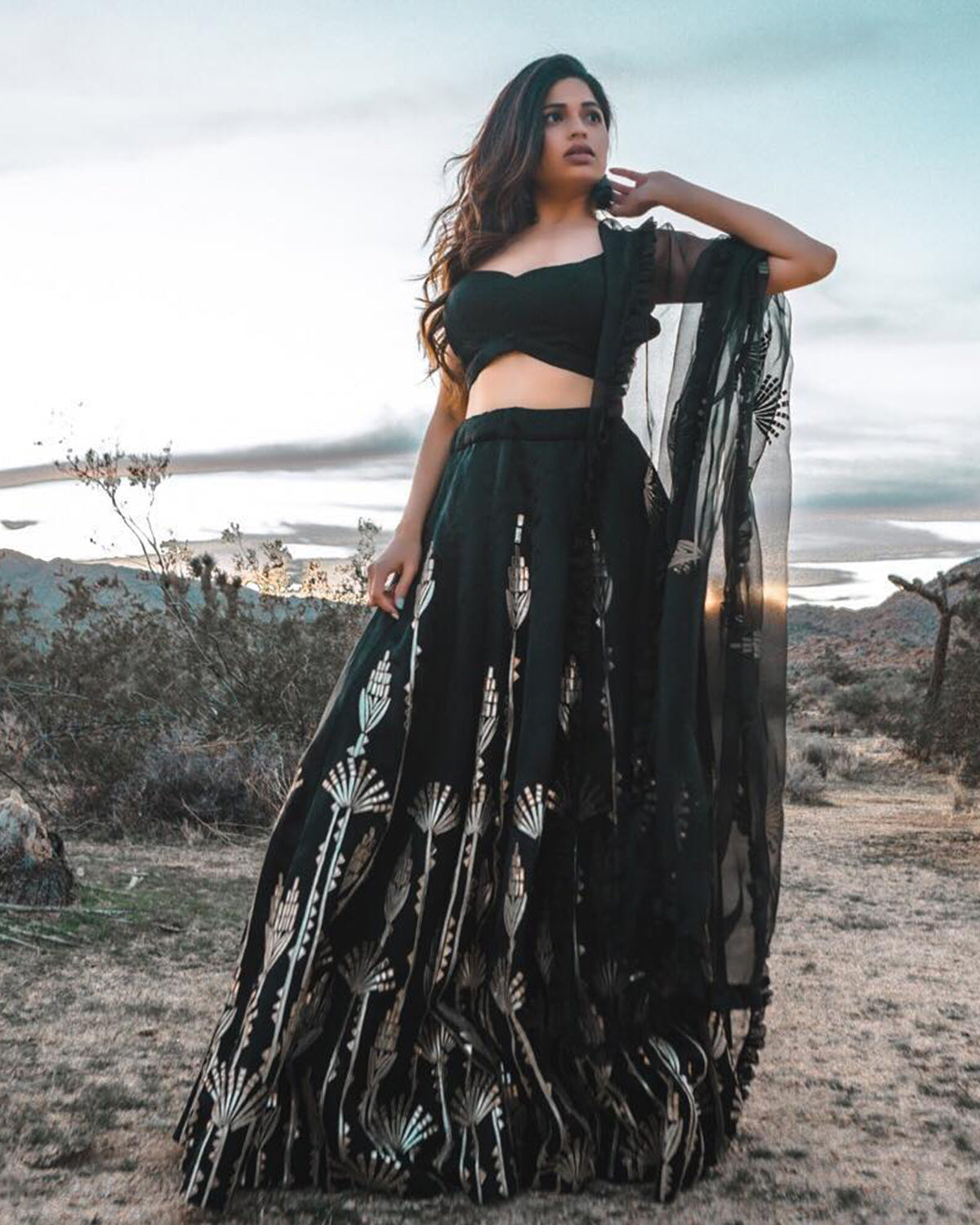 Black Organza and Gold Lehenga