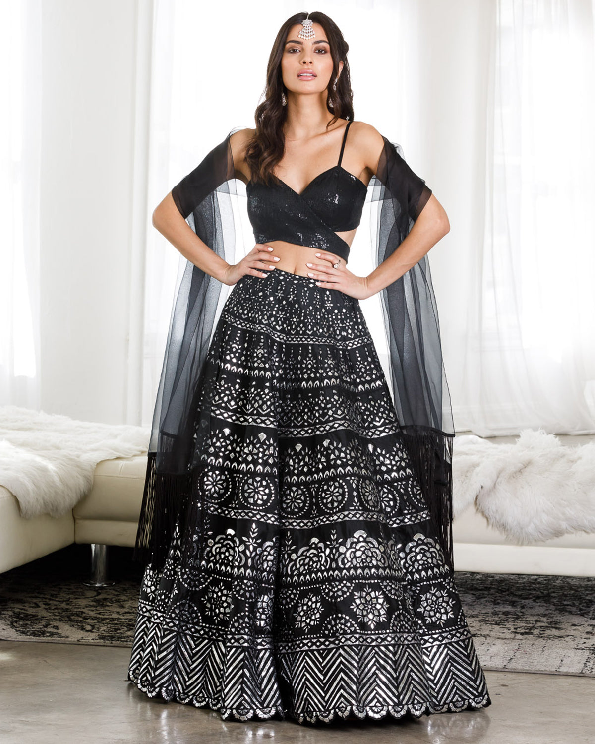 Black and Silver Metallic Lehenga With Wrap Top