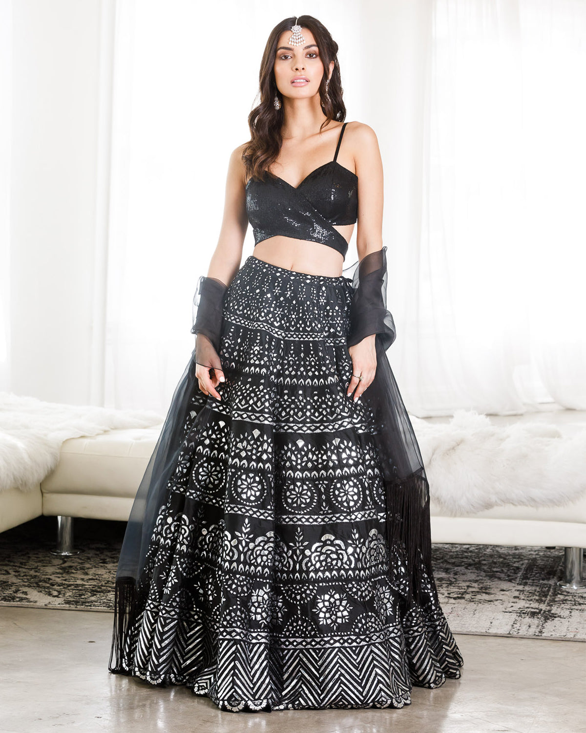 Black and Silver Metallic Lehenga
