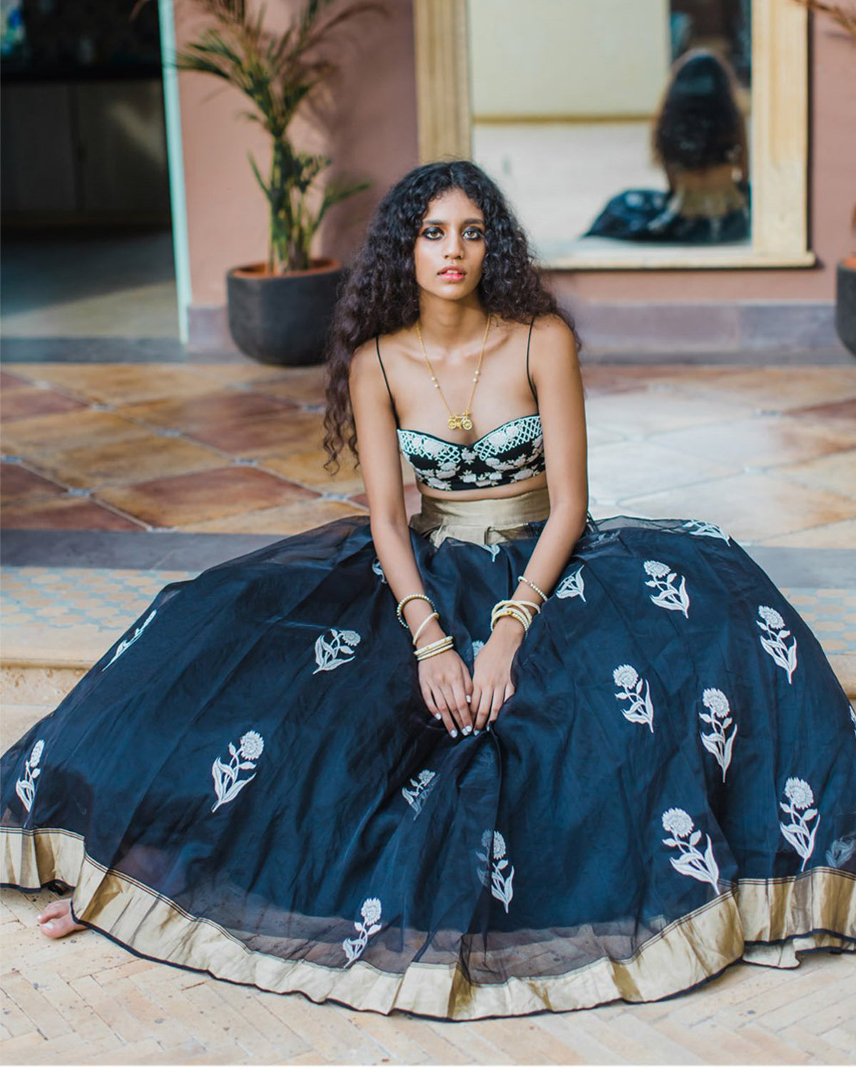 Midnight Flowers and Stars Lehenga